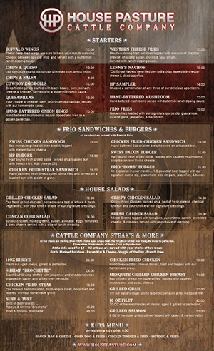 House Pasture Restaurant Menu